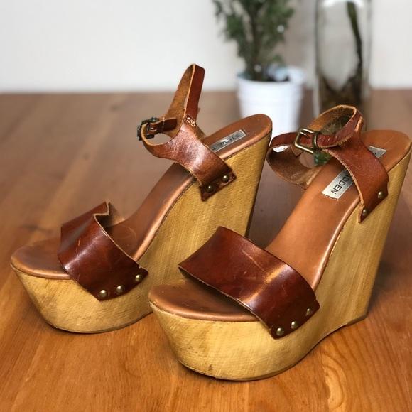 conjunción Encantador federación  Steve Madden Shoes   Steve Madden Wooden Platform Wedge Sandals   Poshmark